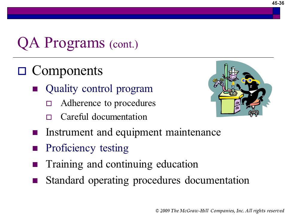 QA Programs (cont.) Components Quality control program