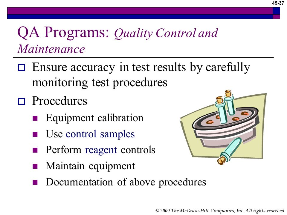 QA Programs: Quality Control and Maintenance