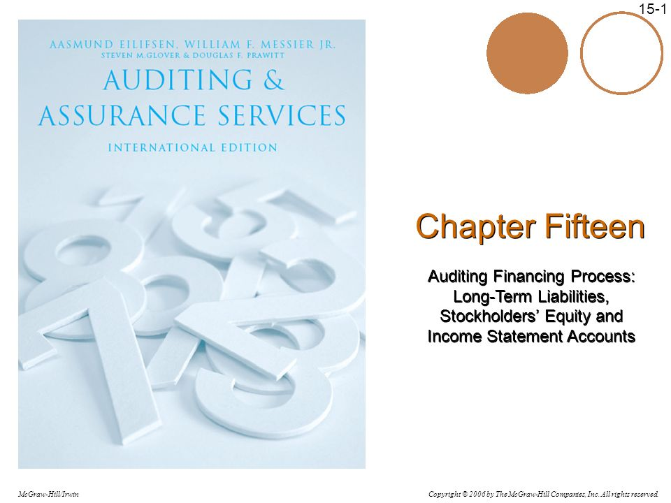 Chapter Fifteen Auditing Financing Process: Long-Term Liabilities, Stockholders' Equity and Income Statement Accounts.