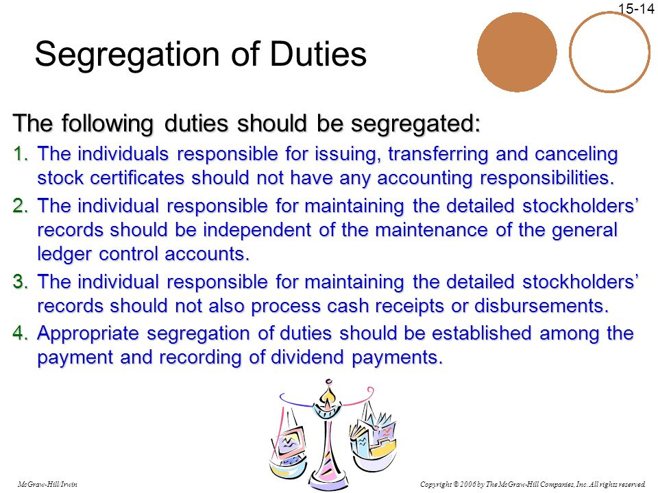 Segregation of Duties The following duties should be segregated: