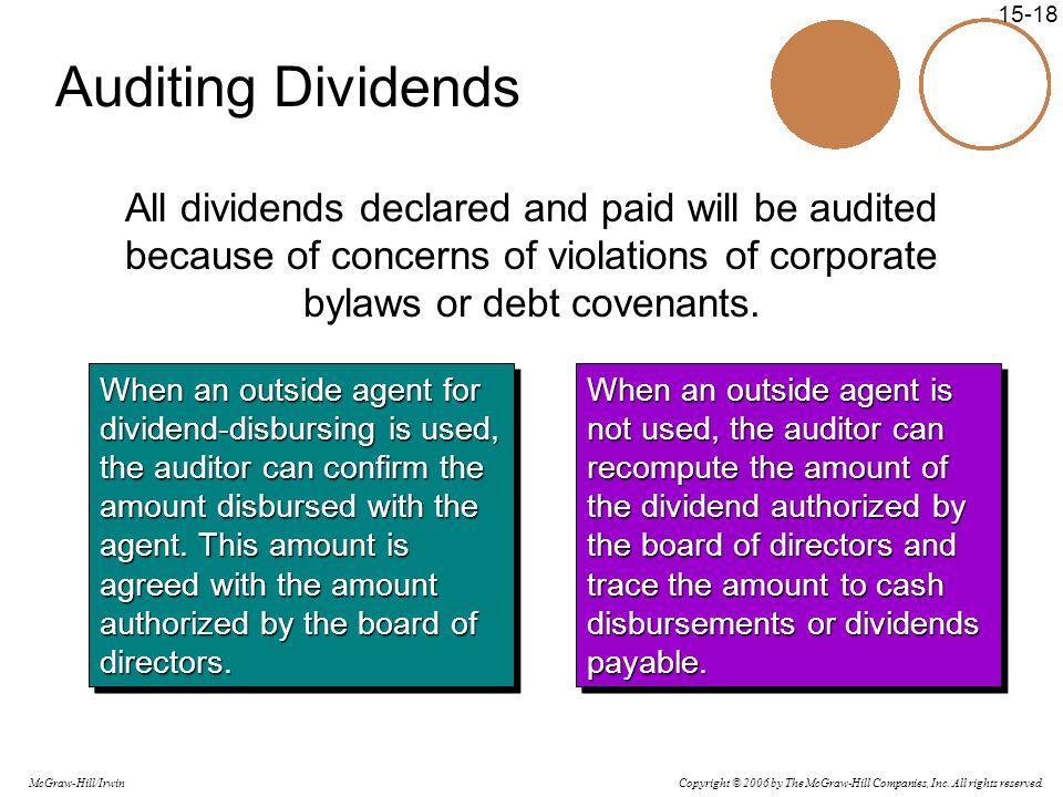Auditing Dividends All dividends declared and paid will be audited because of concerns of violations of corporate bylaws or debt covenants.