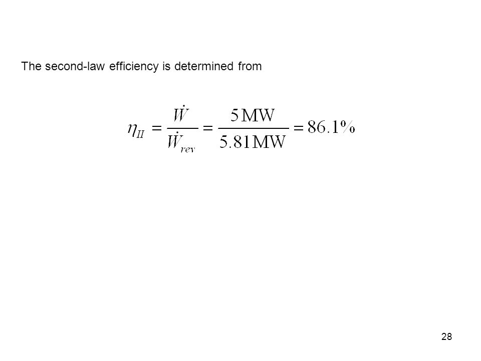 The second-law efficiency is determined from