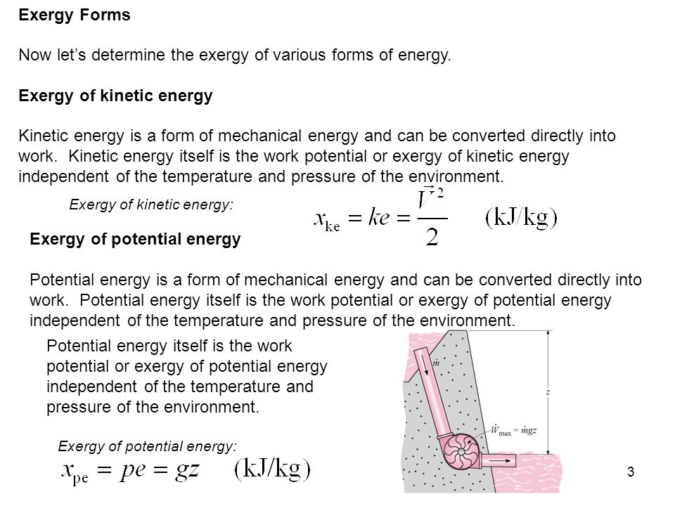 Now let's determine the exergy of various forms of energy.