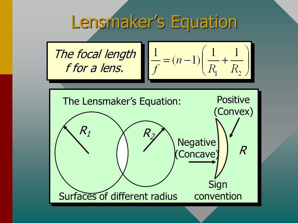 Lensmaker's Equation The focal length f for a lens. R1 R2 R