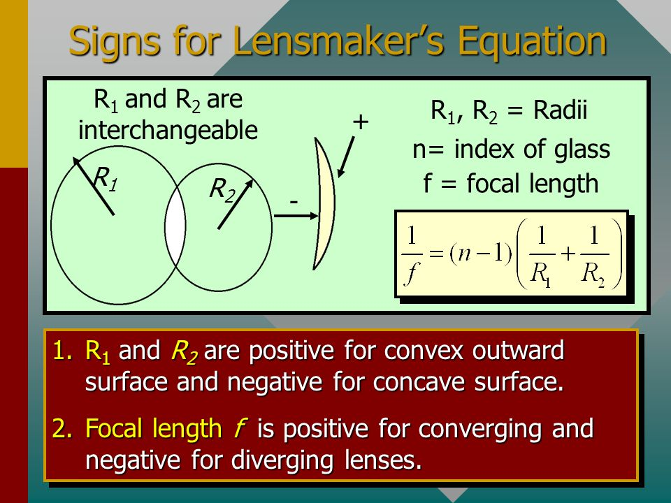 Signs for Lensmaker's Equation