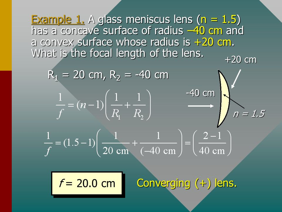 Example 1. A glass meniscus lens (n = 1