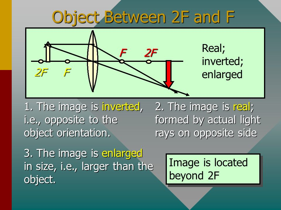 Object Between 2F and F F 2F Real; inverted; enlarged