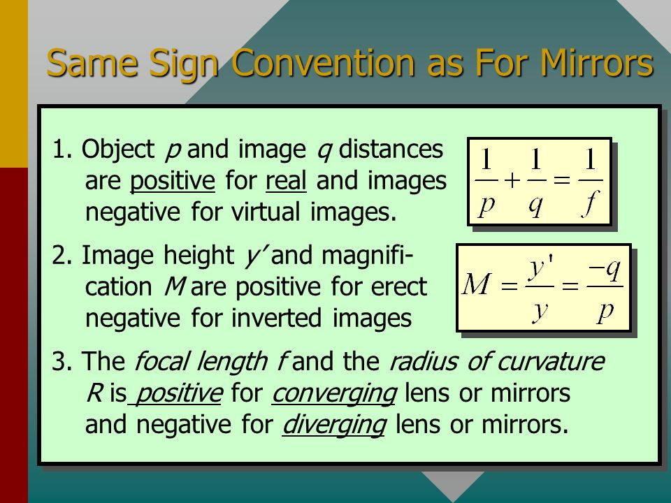 Same Sign Convention as For Mirrors