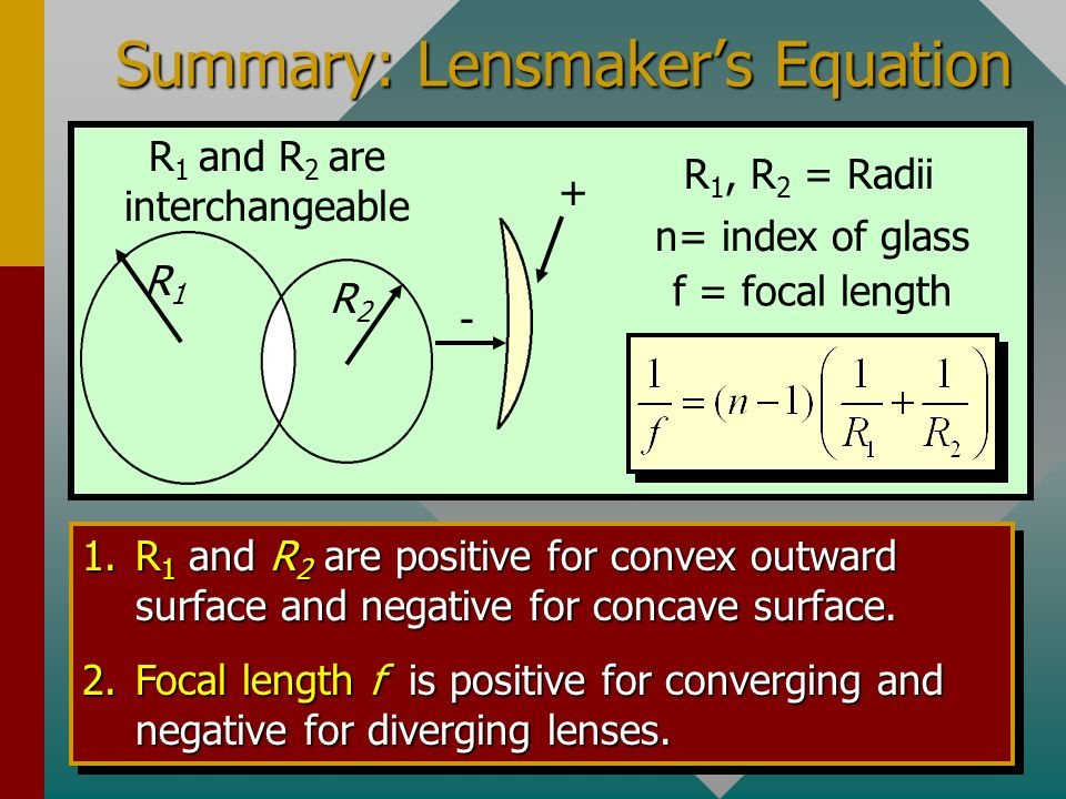 Summary: Lensmaker's Equation