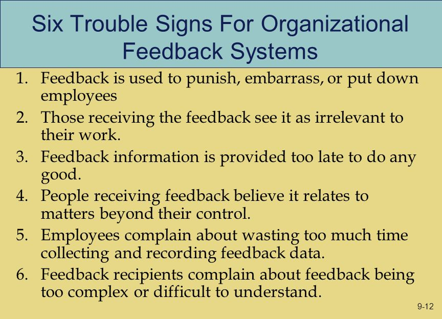 Six Trouble Signs For Organizational Feedback Systems