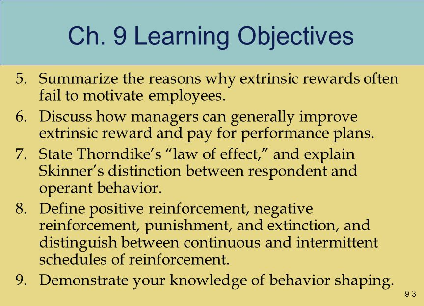Ch. 9 Learning Objectives
