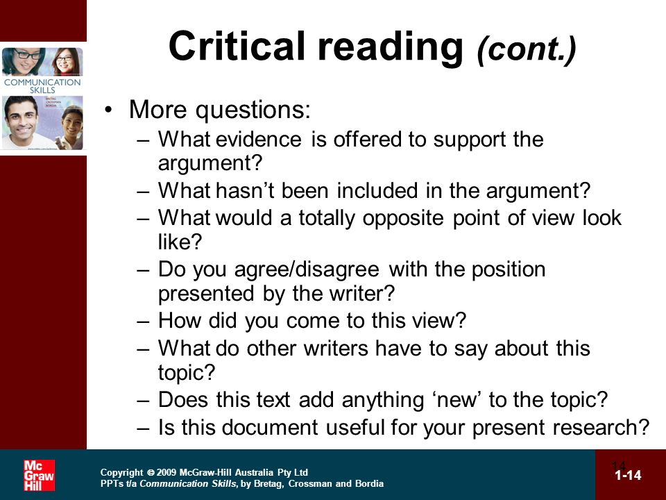 Critical reading (cont.)