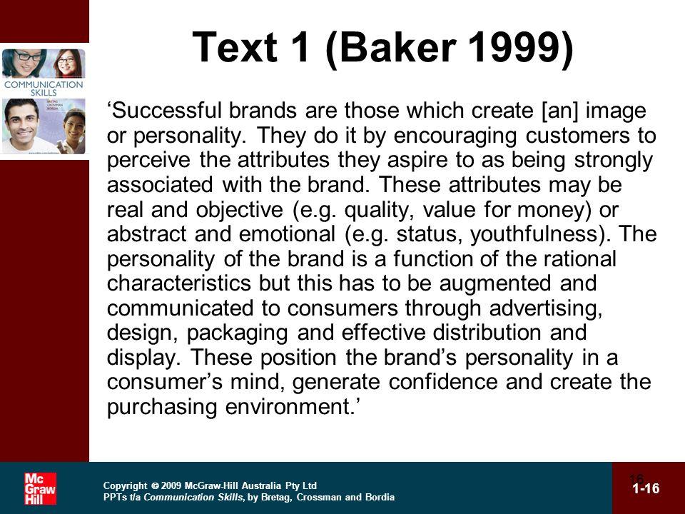 Text 1 (Baker 1999)