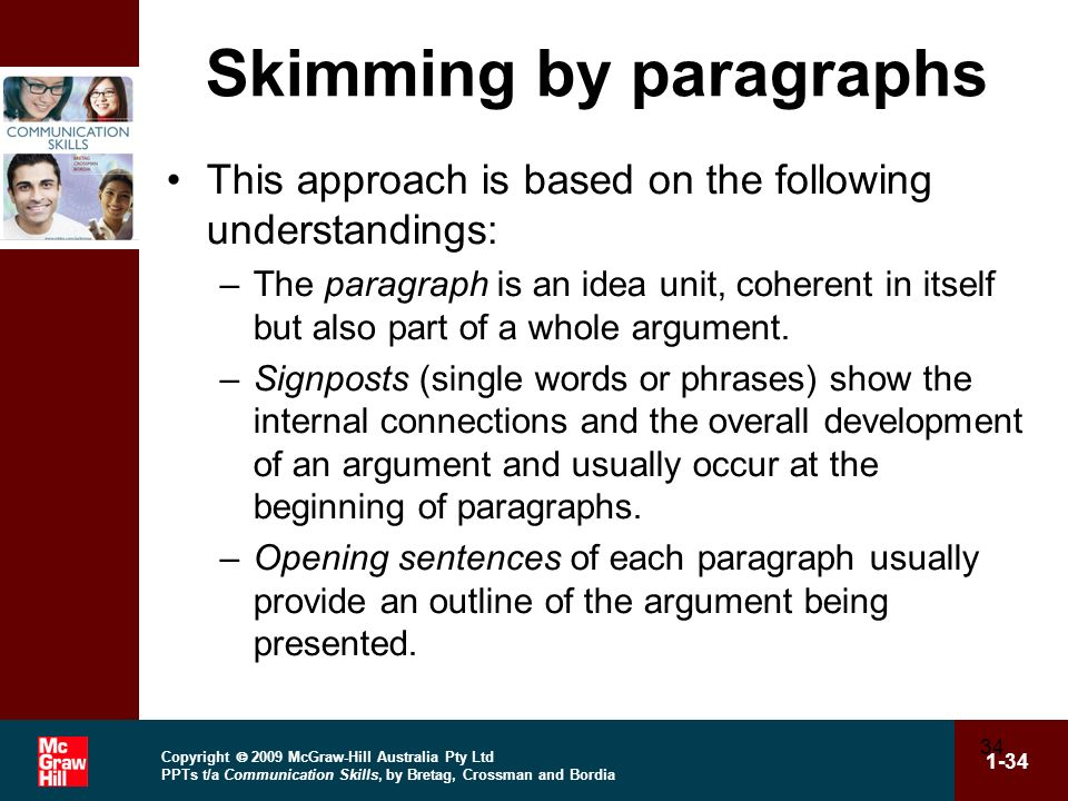 Skimming by paragraphs
