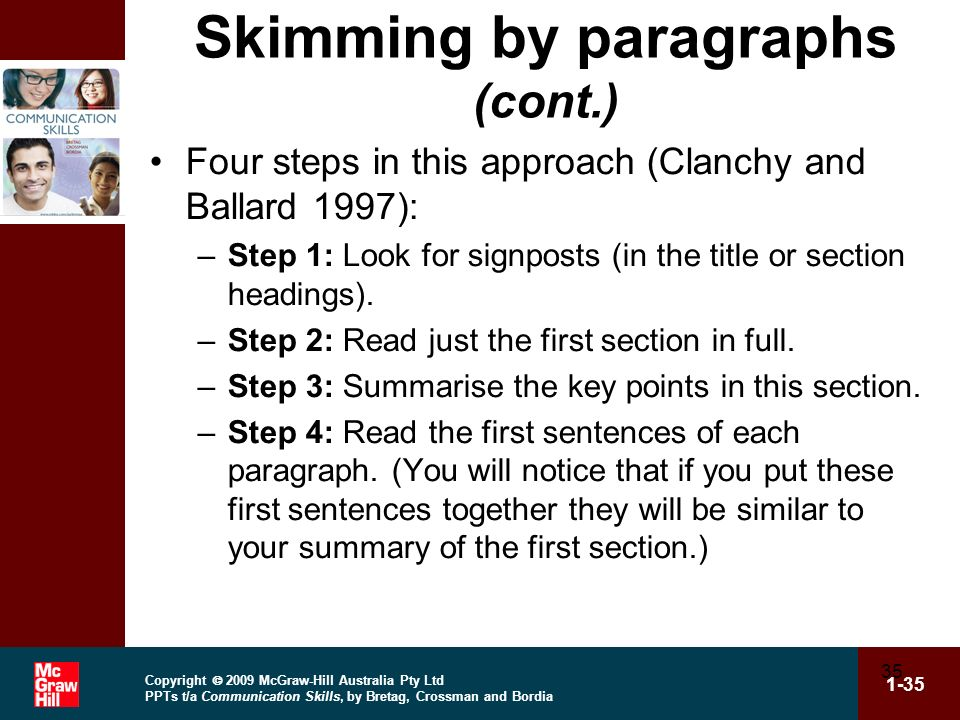 Skimming by paragraphs (cont.)
