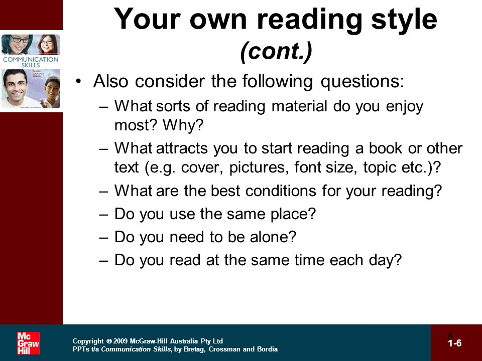 Your own reading style (cont.)