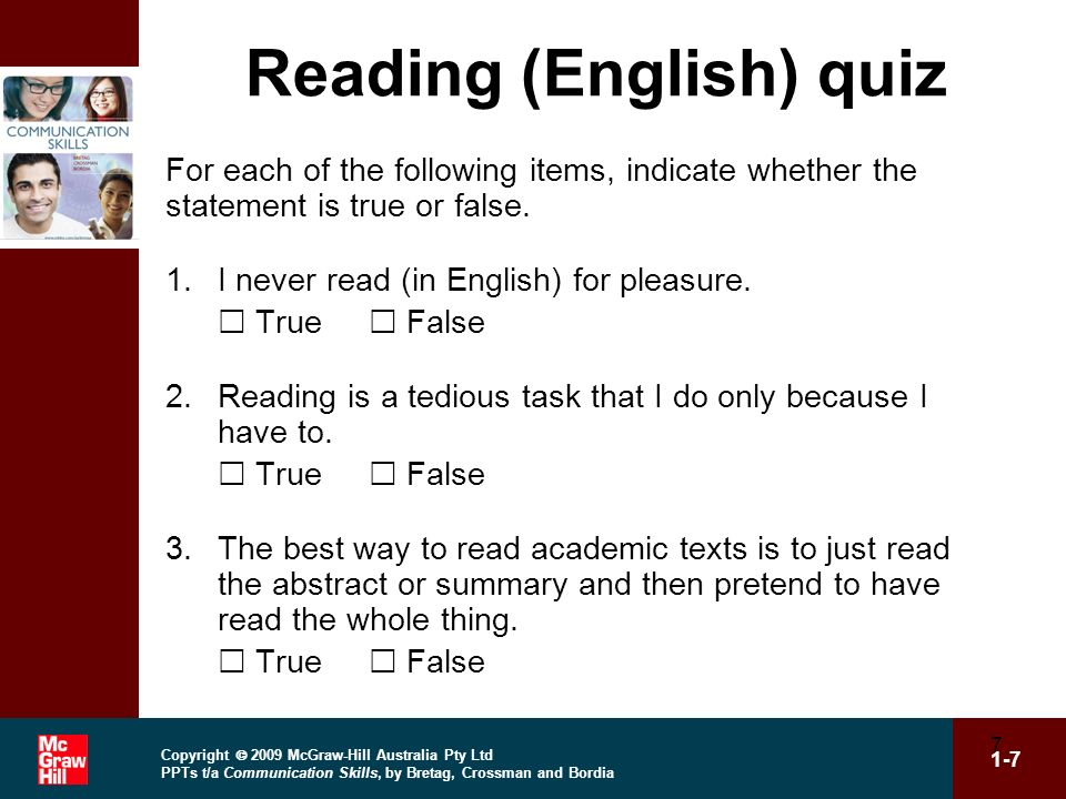 Reading (English) quiz