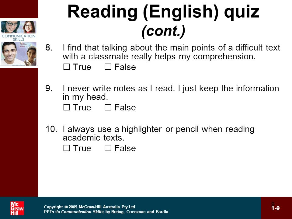 Reading (English) quiz (cont.)
