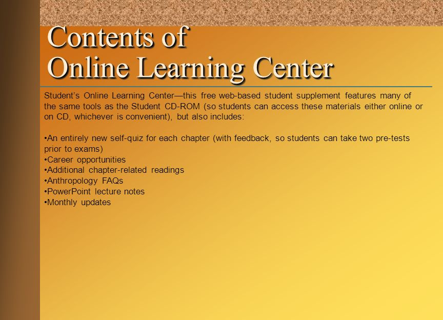 Contents of Online Learning Center