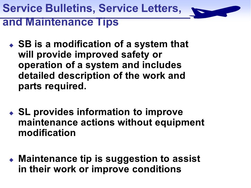 Service Bulletins Letters Maintenance Tips Advisory Circulars Acs Federal Aviation