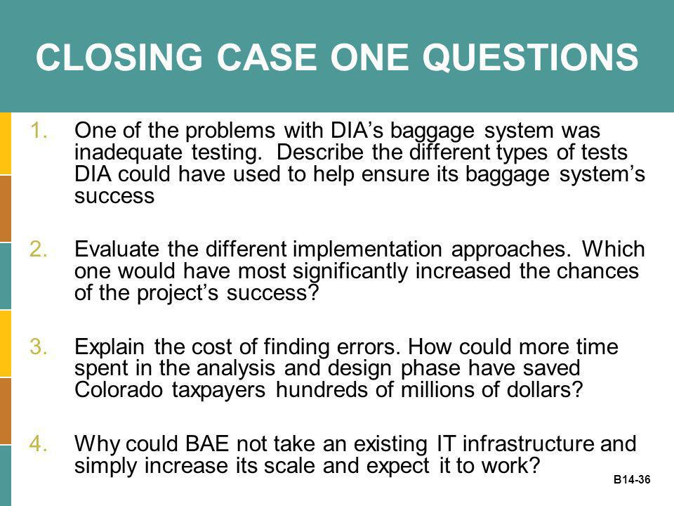CLOSING CASE ONE QUESTIONS