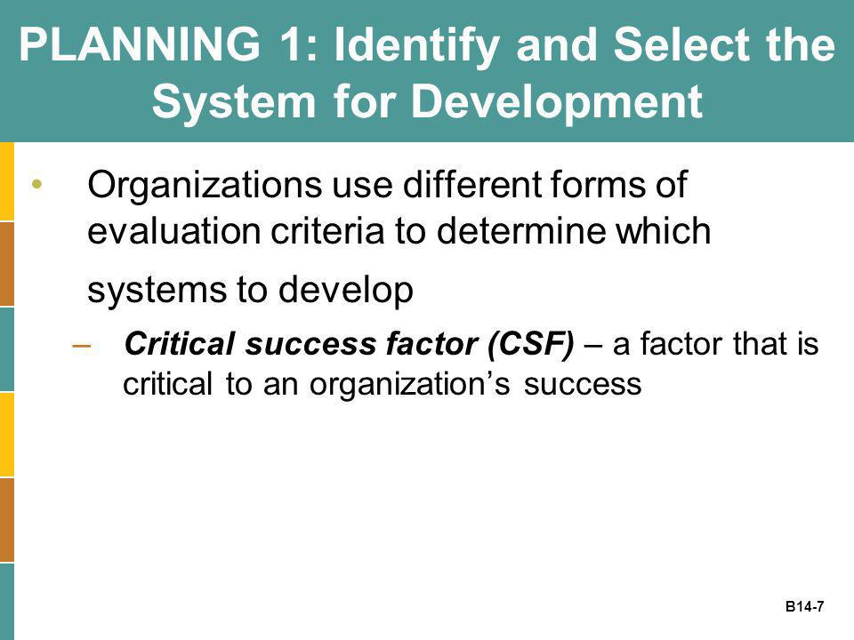 PLANNING 1: Identify and Select the System for Development