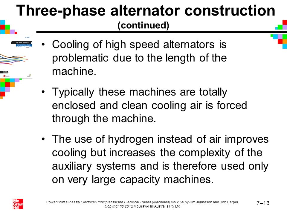 Three-phase alternator construction (continued)