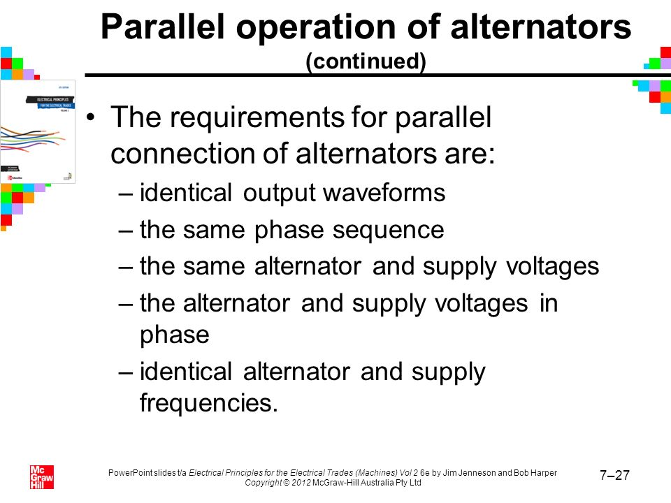 Parallel operation of alternators (continued)