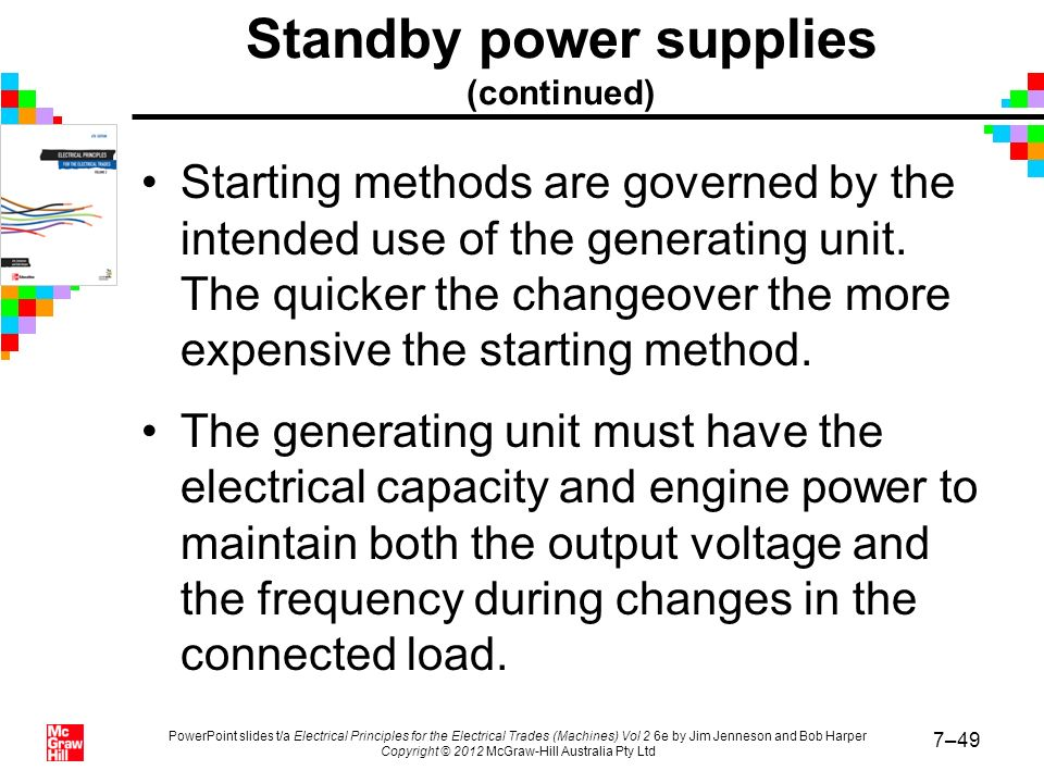Standby power supplies (continued)