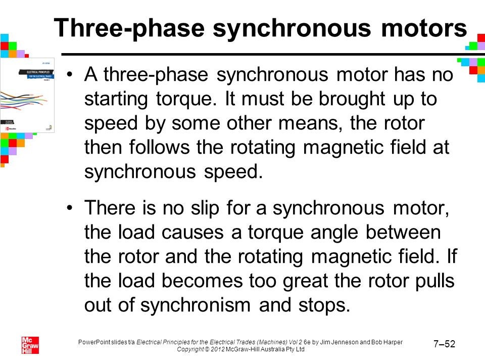 Three-phase synchronous motors