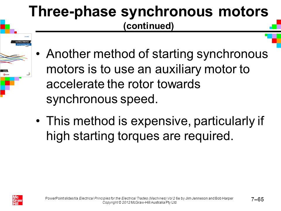 Three-phase synchronous motors (continued)