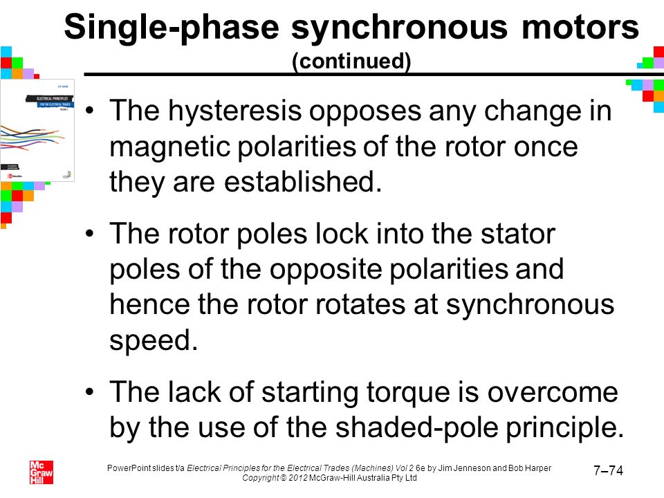 Single-phase synchronous motors (continued)