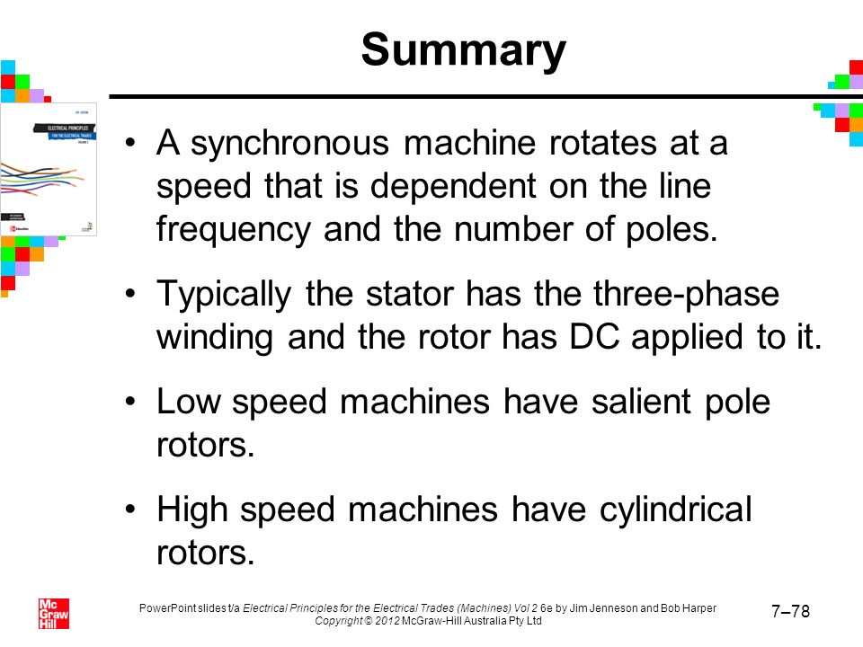 Summary A synchronous machine rotates at a speed that is dependent on the line frequency and the number of poles.