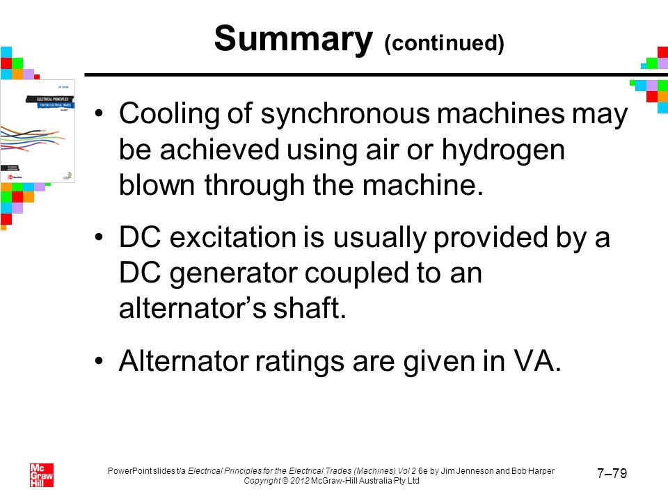 Summary (continued) Cooling of synchronous machines may be achieved using air or hydrogen blown through the machine.