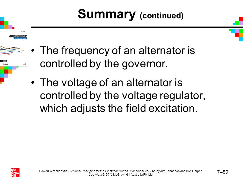Summary (continued) The frequency of an alternator is controlled by the governor.