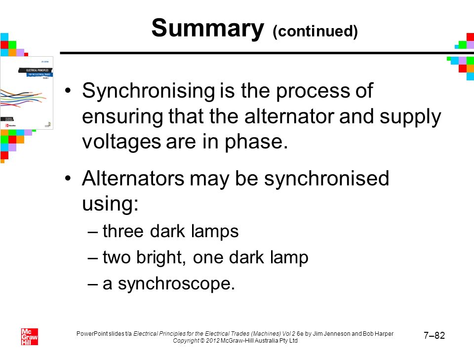 Summary (continued) Synchronising is the process of ensuring that the alternator and supply voltages are in phase.