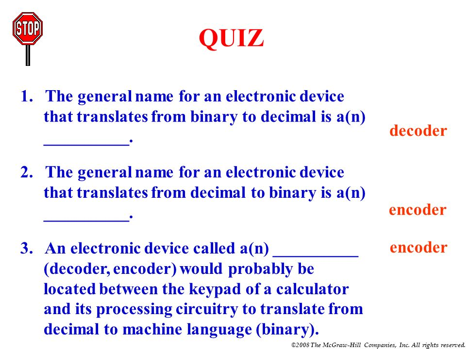 QUIZ1. The general name for an electronic device that translates from binary to decimal is a(n) __________.