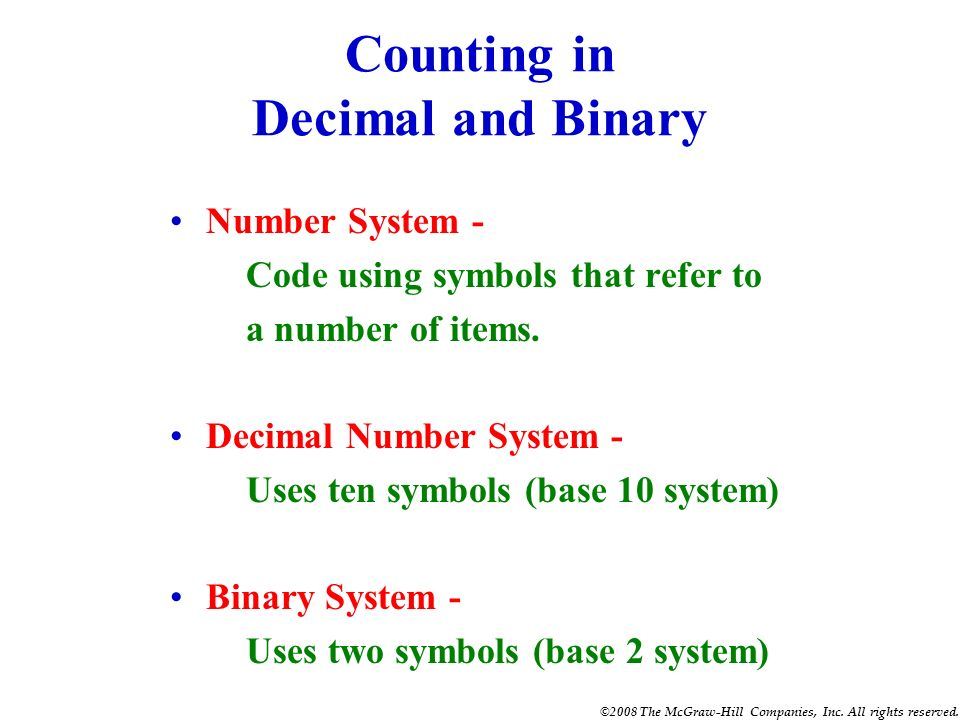 Counting in Decimal and Binary