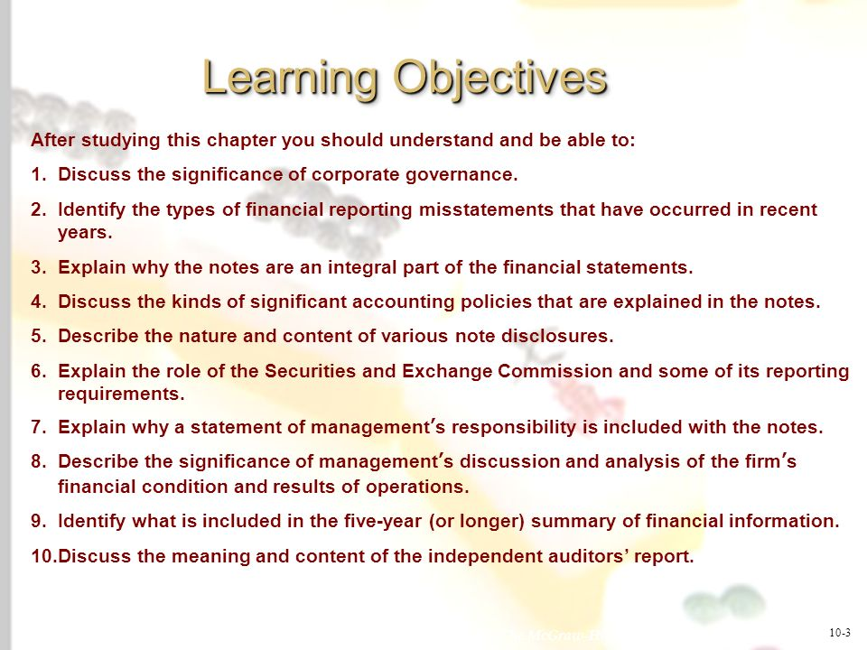 Learning ObjectivesAfter studying this chapter you should understand and be able to: Discuss the significance of corporate governance.