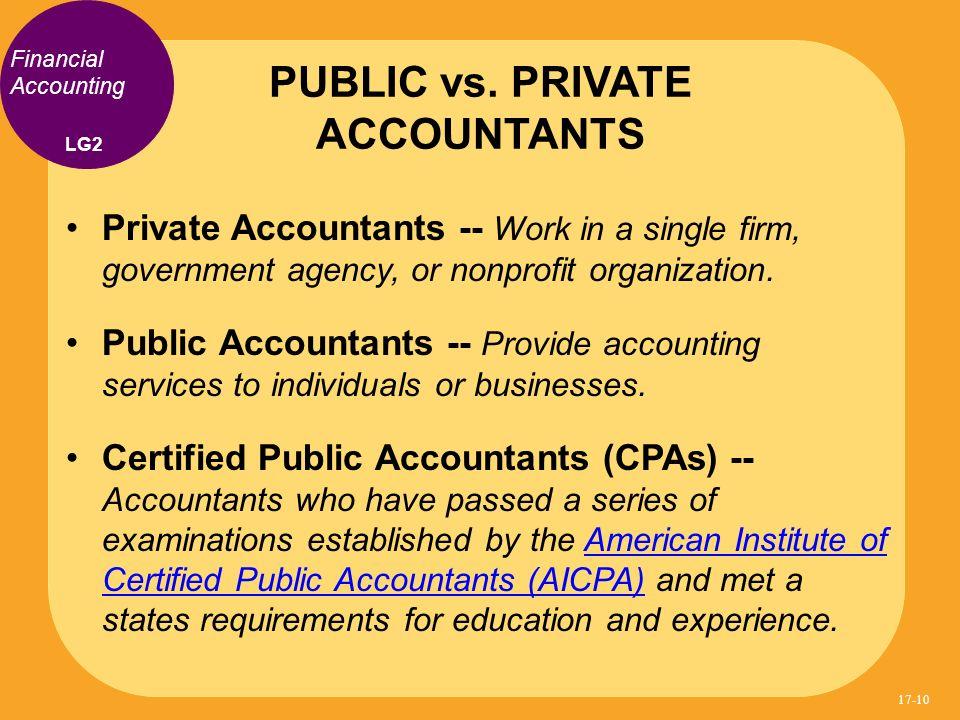PUBLIC vs. PRIVATE ACCOUNTANTS