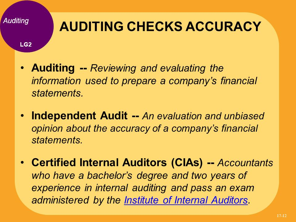 AUDITING CHECKS ACCURACY
