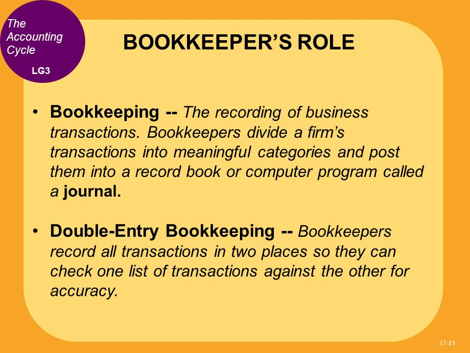 BOOKKEEPER'S ROLE The Accounting Cycle. LG3.