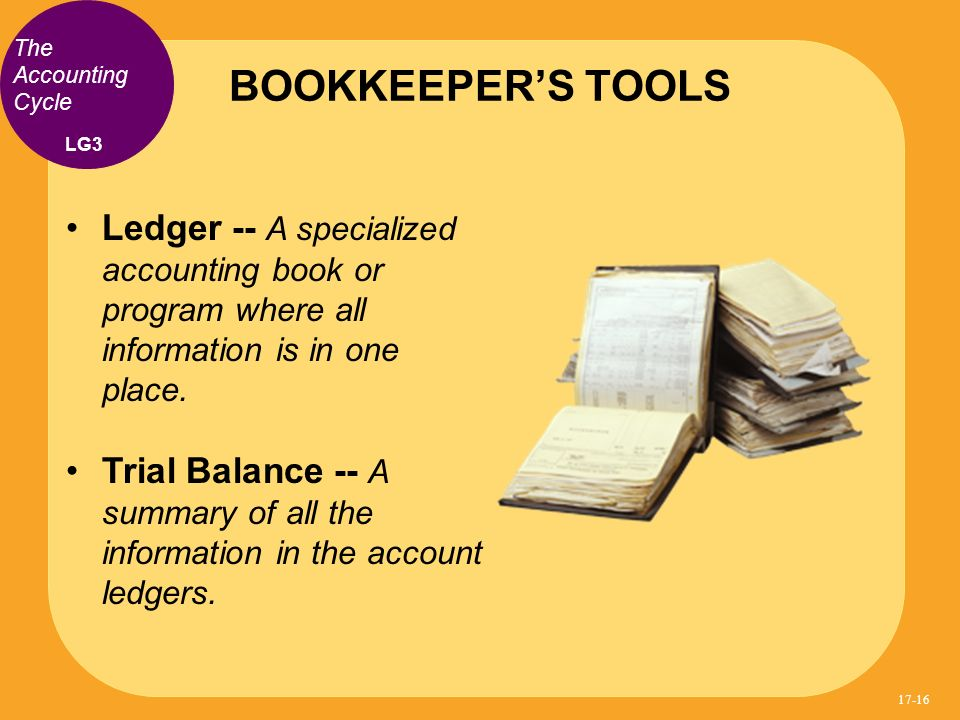 BOOKKEEPER'S TOOLS The Accounting Cycle. LG3. Ledger -- A specialized accounting book or program where all information is in one place.