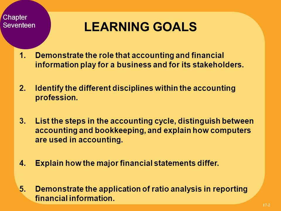 LEARNING GOALS Chapter. Seventeen. Demonstrate the role that accounting and financial information play for a business and for its stakeholders.