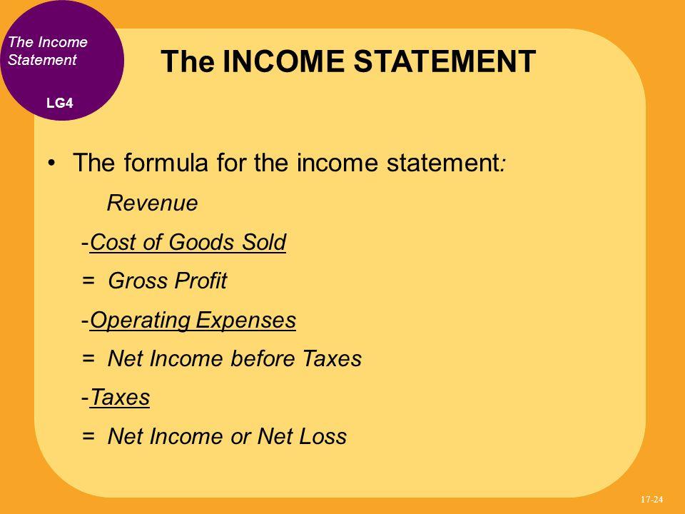 The INCOME STATEMENT The formula for the income statement: Revenue