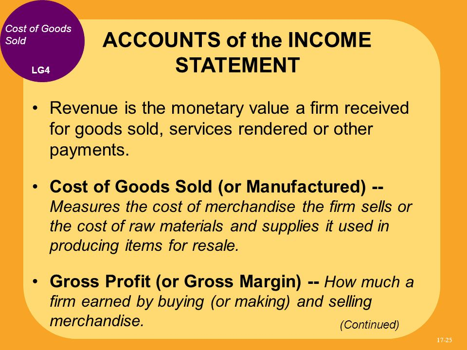 ACCOUNTS of the INCOME STATEMENT