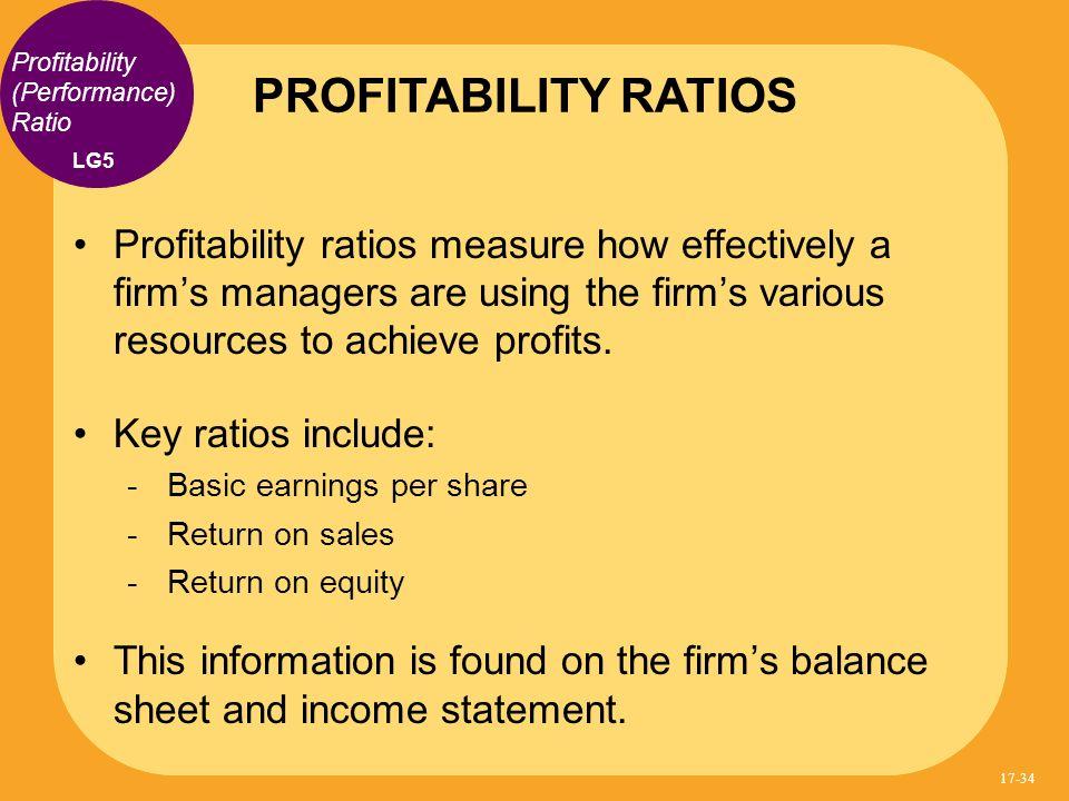 PROFITABILITY RATIOS Profitability (Performance) Ratio. LG5.