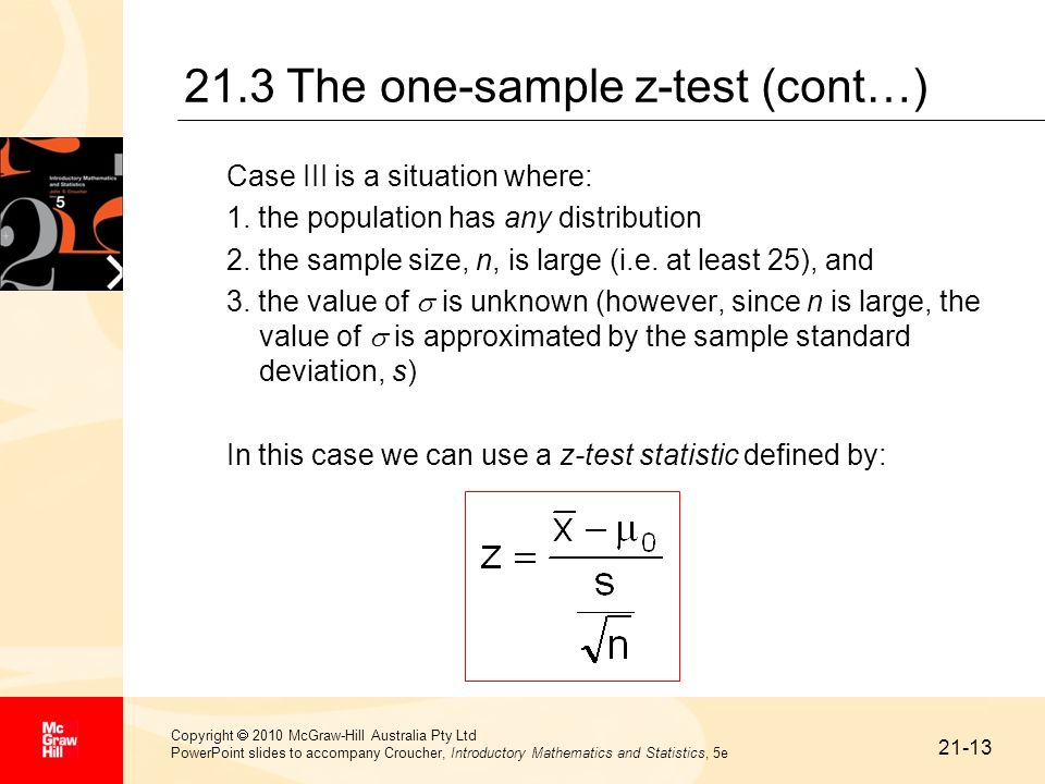 21.3 The one-sample z-test (cont…)