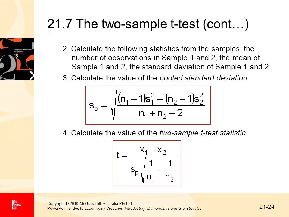 21.7 The two-sample t-test (cont…)