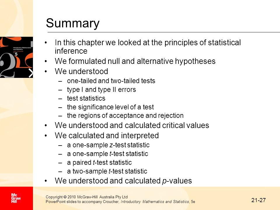 Summary In this chapter we looked at the principles of statistical inference. We formulated null and alternative hypotheses.